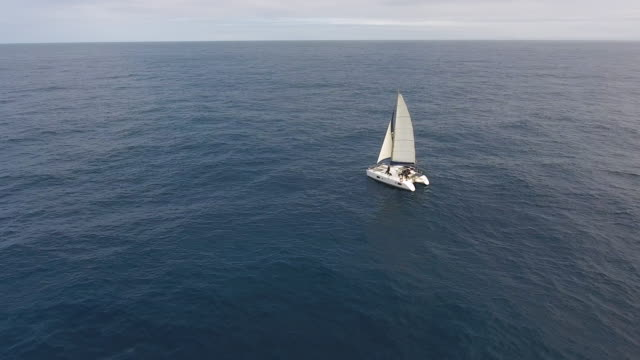 Sailing catamaran in Atlantic ocean - video