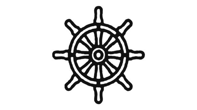 sailing icon animation footage & alpha channel - ster fragment pojazdu filmów i materiałów b-roll