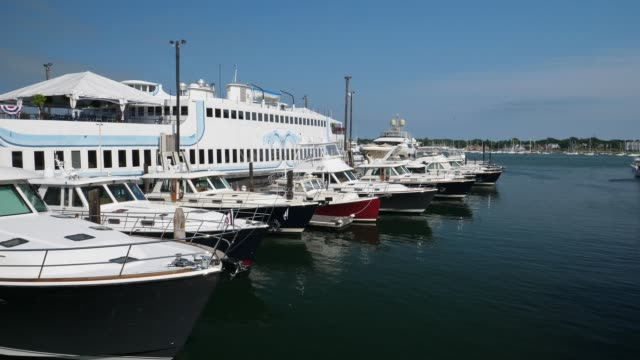 Sailing Past Upscale Yachts in Portland Maine Harbor video