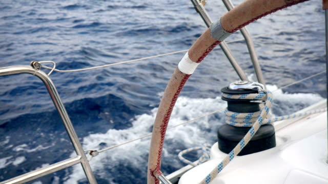 sailing trip in adriatic sea in croatia - ster fragment pojazdu filmów i materiałów b-roll