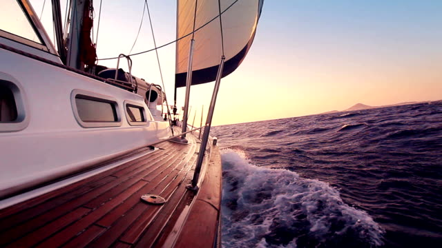 Sailing Sailing into the Sunset yacht stock videos & royalty-free footage