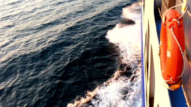 Sailing with Ferry Sailing in the wind with ferryboat. Lifebuoy close up shooting crank mechanism stock videos & royalty-free footage