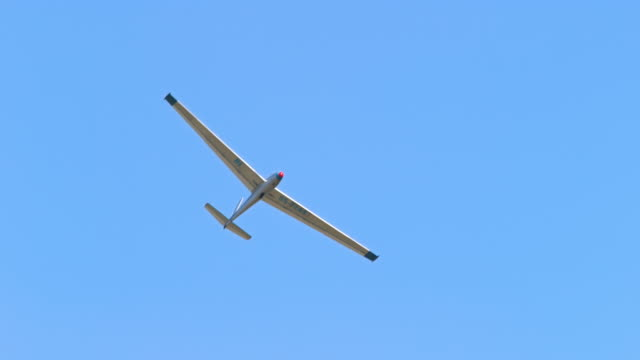 Sailplane moving across the blue sky