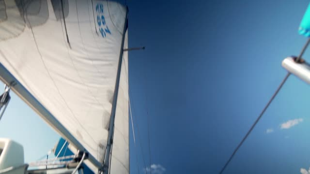 Sails of a sailing yacht in the wind
