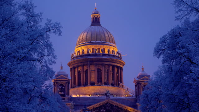 Saint Isaac's Cathedral dome illuminated at night, cold winter video