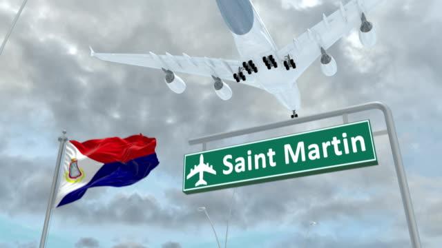 saint martin, approach of the aircraft to land - saint martin caraibi video stock e b–roll