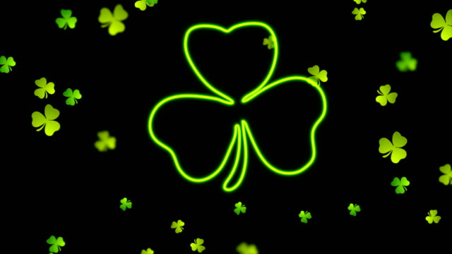 Saint Patrick Day neon clover leaf abstract motion background Saint Patrick Day neon clover leaf abstract motion background. Video animation Ultra HD 4K 3840x2160 shamrock stock videos & royalty-free footage