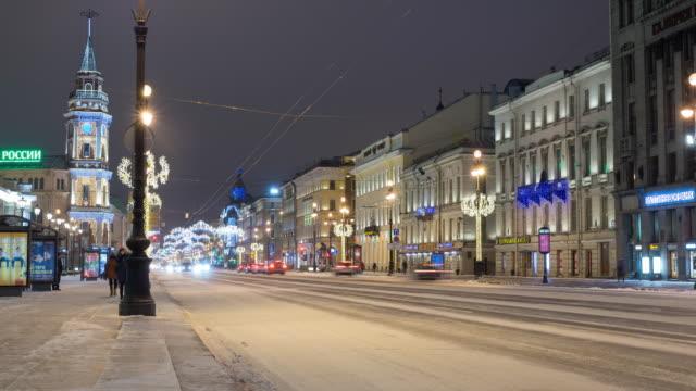 Saint Petersburg Nevsky Prospekt timelapse at early morning video