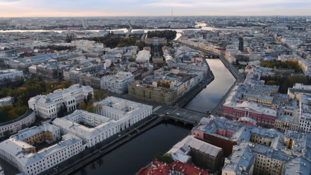 Saint Petersburg on a sunny spring morning. The city is built up with low-rise buildings in the Baroque style, riddled with rivers that divide it into small Islands treedeo saint petersburg stock videos & royalty-free footage