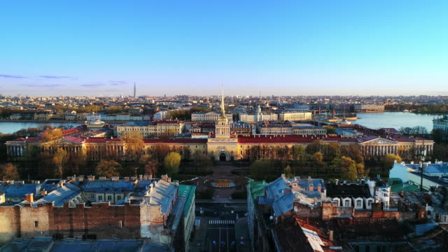 Saint Petrsburg on a sunny spring morning. View of the Admralty tower and the Alexander garden. The focal point of St Petersburg's centre: three main avenues converge nearby. treedeo saint petersburg stock videos & royalty-free footage