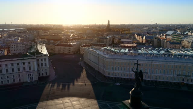 Saint Petrsburg on a sunny spring morning. The view of the alace Square. The earliest and most celebrated building on the square, the Baroque white-and-turquoise Winter Palace of the Russian tsars treedeo saint petersburg stock videos & royalty-free footage