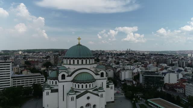 Saint Sava temple in Belgrade Aerial view of Saint Sava temple in Belgrade serbia stock videos & royalty-free footage