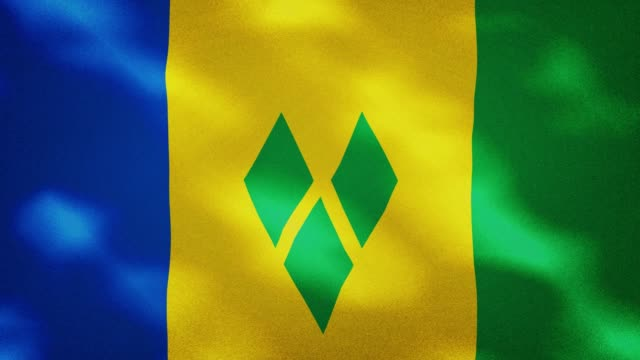 saint vincent and the grenadines dense flag fabric wavers, background loop - kingstown video stock e b–roll