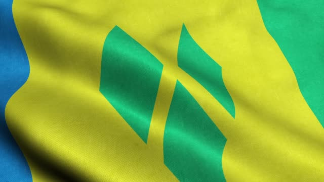 saint vincent and the grenadines flag seamless looping waving animation - kingstown video stock e b–roll
