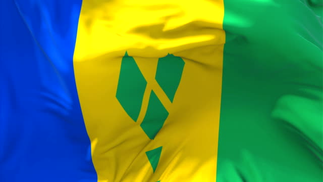 saint vincent and the grenadines flag waving in wind slow motion animation . 4k realistic fabric texture flag smooth blowing on a windy day continuous seamless loop background. - kingstown video stock e b–roll