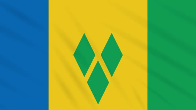 saint vincent and the grenadines flag waving, loop - kingstown video stock e b–roll