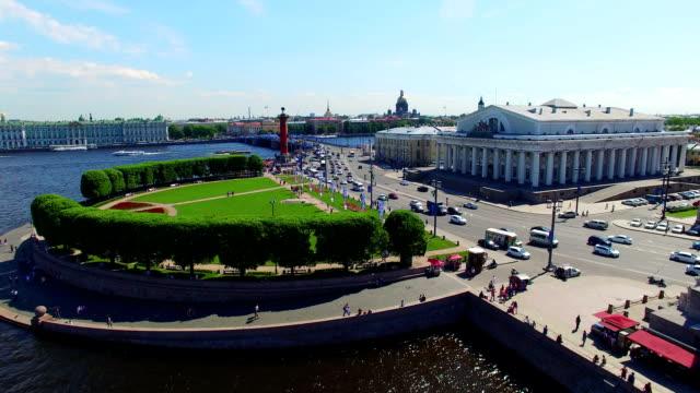 Saint-Petersburg aerial view on Vasilevsky island video