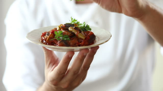 Saksuka meze (traditional Turkish eggplant tapas dish) video