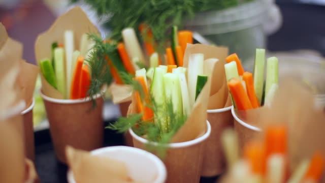 salad in glasses - buffet video stock e b–roll