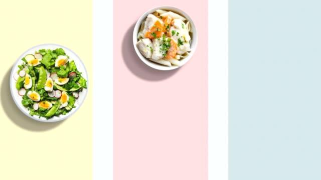 샐러드 접시 stopmotion 4 k - 스톱 모션 스톡 비디오 및 b-롤 화면