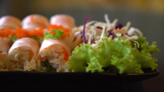 salad roll vegetables with salad - immergere video stock e b–roll