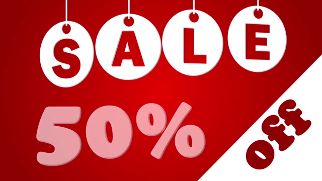 Sale and fifty percent off on the red background video
