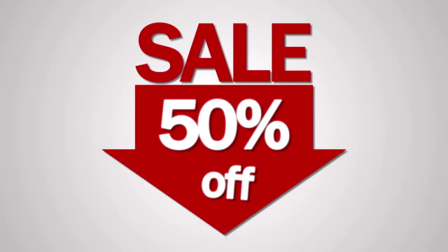 Sale and fifty percent off on the white background video