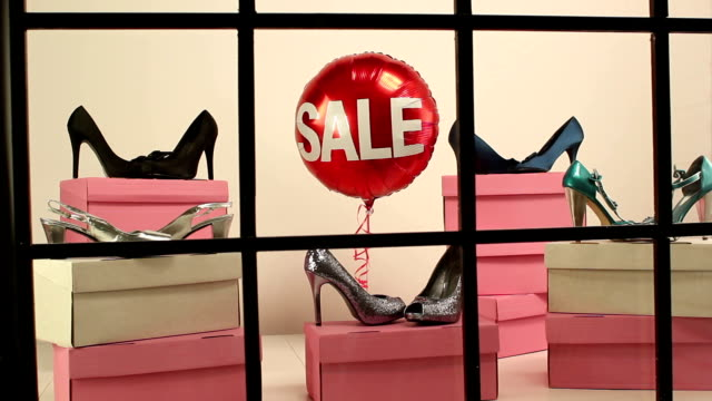 Sale at the Shoe shop - Window display video
