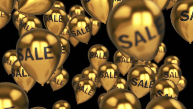 sale balloons 4k with luma matte isolated gold 3d rendering - black friday стоковые видео и кадры b-roll
