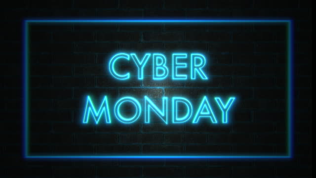 sale banner blinking neon sign style, loop. 4k - cyber monday стоковые видео и кадры b-roll