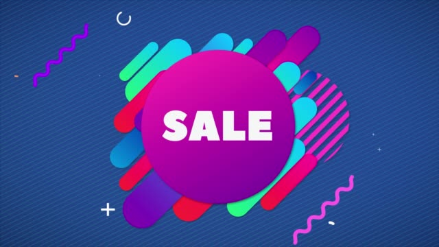 sale banner on abstract background in flat style with animation of rounded rectangles. - summer background filmów i materiałów b-roll