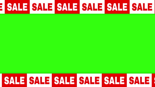 Sale text animation template on a chroma green background