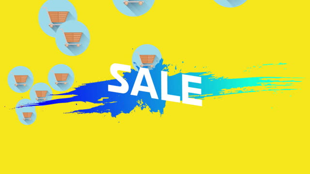 Sale text on blue splodge against shopping trolley icons on yellow background
