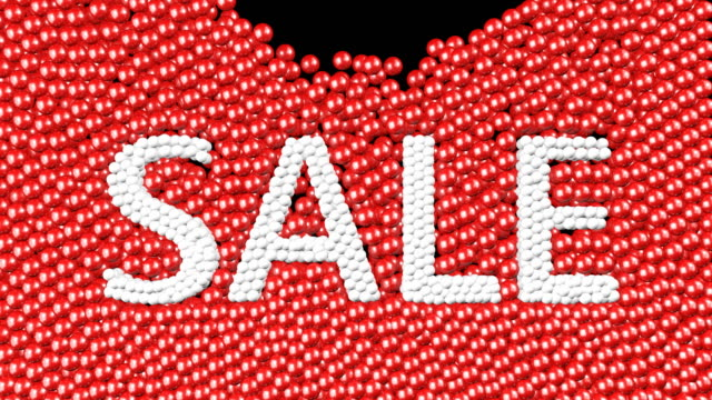 sale text with many red and white balls 3d animation. green screen footage. - распродажа стоковые видео и кадры b-roll