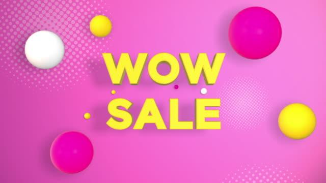 銷售字概念,wow sale,綵球落在地板上 - thank you background 個影片檔及 b 捲影像
