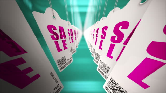Sales price tags in a row. Loopable CG. video