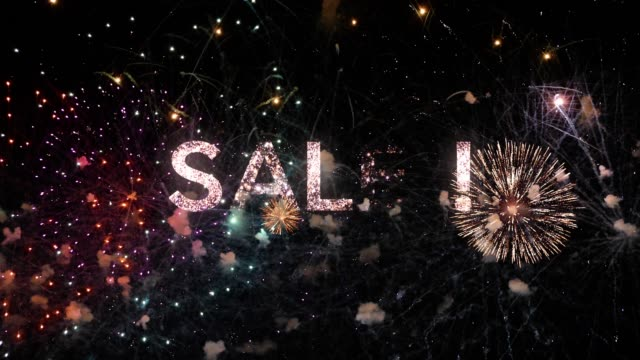 Sales text animation with fireworks on black night sky, typography design - Event & promotion concept
