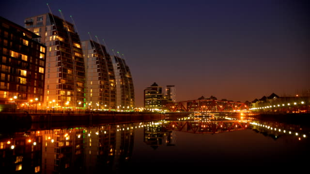 Salford Quays dusk to night 1080hd