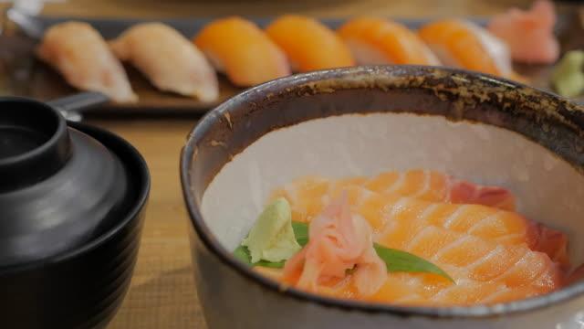 Salmon Donburi Fresh salmon on vinegared rice. video