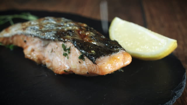 Salmon Fish Fillet Cooked and Served, Seasoning video