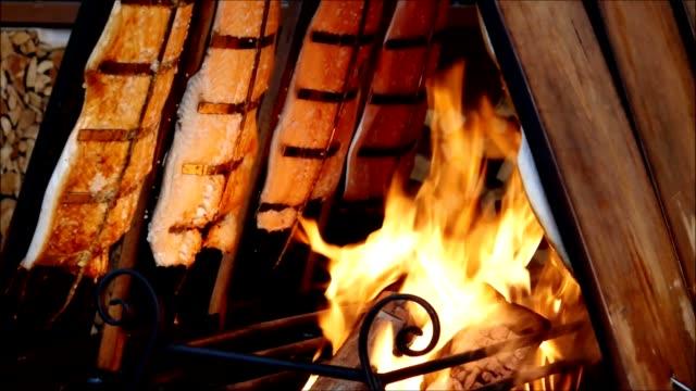 Salmon on fire video