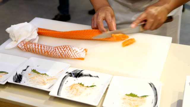 salmon sashimi - japanese food stock videos and b-roll footage