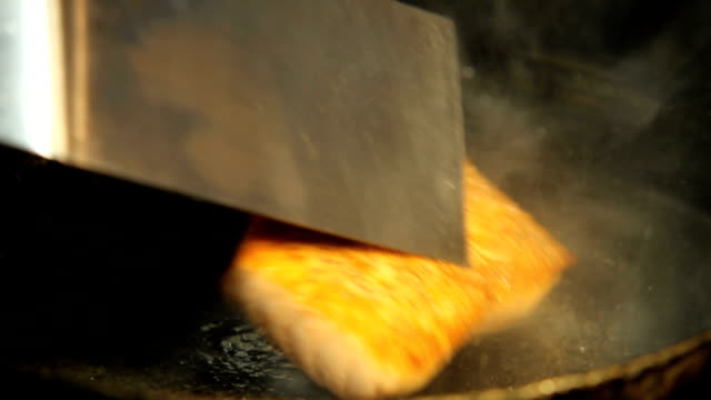 salmon seafood fish frying pan video