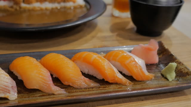 Salmon Sushi Fresh salmon on vinegared rice. video