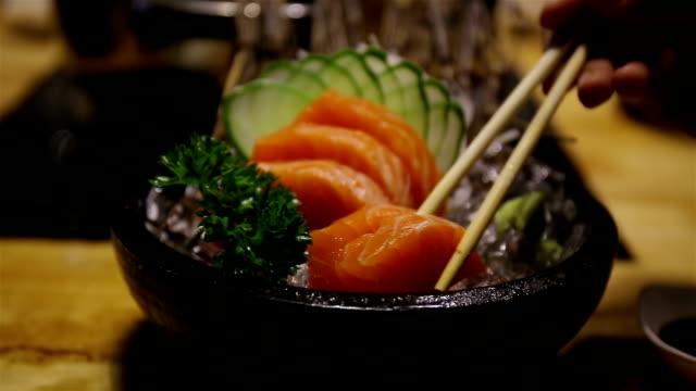 salmon eating salmon sashimi sashimi stock videos & royalty-free footage