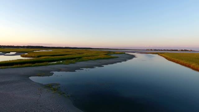 Salt marsh fly-through Salt marshes in South Carolina marsh stock videos & royalty-free footage