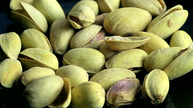 salted pistachios in a plate video