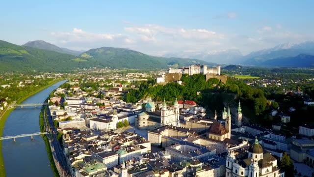 salzburg city flygfoto - delstaten tyrolen bildbanksvideor och videomaterial från bakom kulisserna