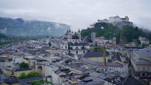 salzburg panorama, austria, europe - obiekt światowego dziedzictwa unesco filmów i materiałów b-roll