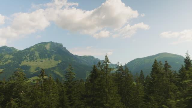 SalzburgerLand Österreich, Blick von einer Seilbahn Fenster Bäume vorbei – Video